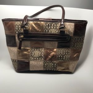 Gianni Bernini gold brown handbag tote